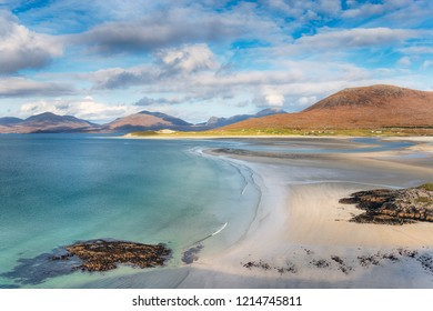 The view from Seilebost over to Luskentyre beach on the Ilse of Harris in Scotland