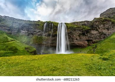 View of Seljalandsfoss waterfall of Iceland