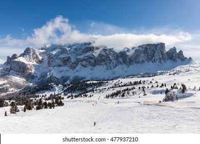 View of the Sella Group with snow in the Italian Dolomites from the ski area