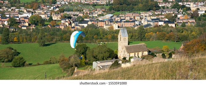 View from Selsley Common towards Ebley Stroud and with the distinctive Church of All Saints at Selsley, Stroud, United Kingdom