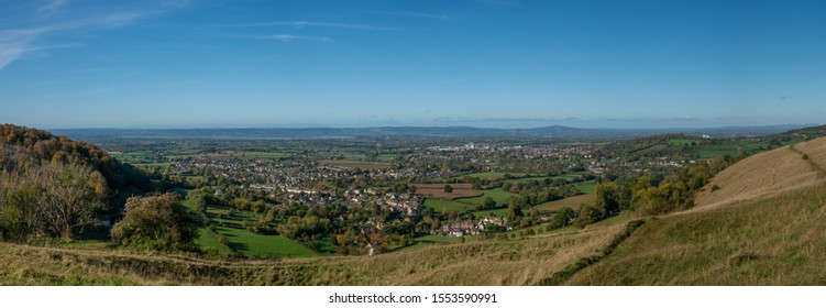 View from Selsley Common towards Kings Stanley and Stonehouse, near Stroud Gloucestershire, United Kingdom