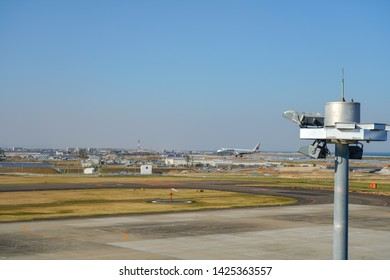 """View from Sendai Airport observation deck """"Smile Terrace"""". Sendai Airport is an international airport located in the city of Natori, Miyagi, Japan - April 22, 2019"""