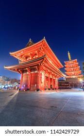 View of  Sensoji Asakusa Temple at night in Tokyo, Japan