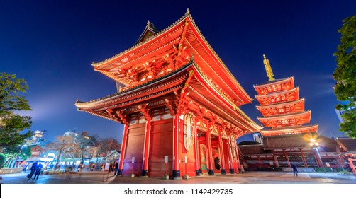 View of  Sensoji Asakusa Temple at night in Tokyo, Japan