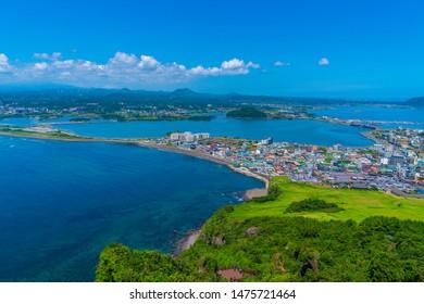 View of Seongsan Ilchulbong moutain in Jeju Island, South Korea.