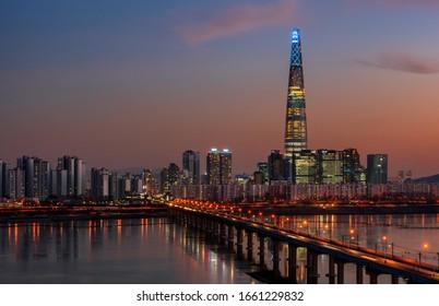view of seoul city at night south Korea