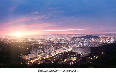 View of Seoul City Skyline and Seoul Tower at Sunrise South Korea
