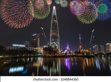 View of Seoul and Firework at lake Seokchonhosu Park of Seoul South Korea