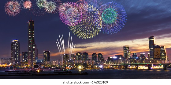 View of Seoul and Firework at Yeouido in the summer Seoul, South Korea.