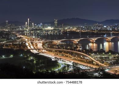 View of Seoul  South Korea  at night