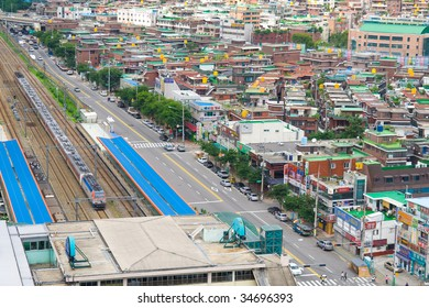 View to Seoul. South Korea. Roads, railroad, old and modern buildings