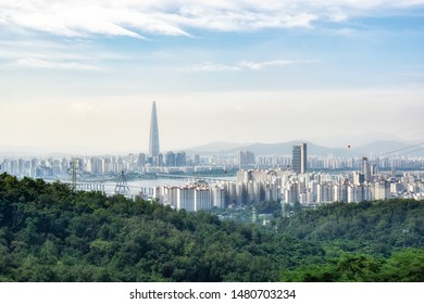 view of seoul from top of achasan mountain in seoul, south korea.