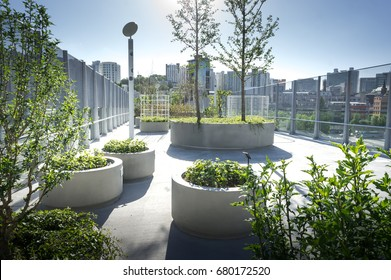 View of Seoullo 7017. the pedestrian road of the Seoul Station overpass in South Korea. trees and grass at the city.