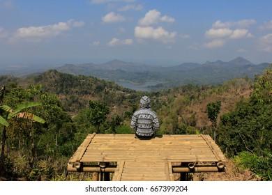 View of sermo reservoir from Dipowono Hill, Kulon Progo, Yogyakarta, Indonesia (View waduk sermo, kalibiru dan perbukitan menoreh dari Puncak Dipowono, Kulon Progo)