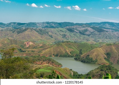 View of the Serra das Araras - site of many mountains with horizon and beautiful blue sky background - located in the interior of Rio de Janeiro, Brazil