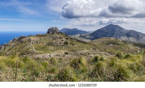 The view of Serra de Tramuntana mountains captured during the GR 221 trek. Mallorca, Spain.