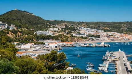 View of Sesimbra, Setubal Portugal on the Atlantic Coast.