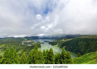 View of Sete Cidades from the Miradouroda Vista do Rei in Sao Miguel, Azores.