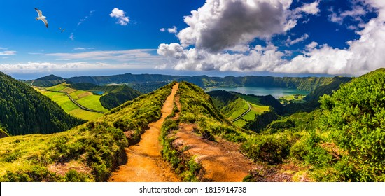 View of Sete Cidades near Miradouro da Grota do Inferno viewpoint, Sao Miguel Island, Azores, Portugal. Grota do Inferno viewpoint at Sete Cidades on Sao Miguel Island, Azores, Portugal.