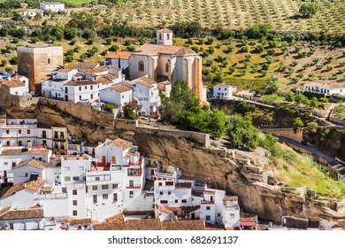 View of Setenil de las Bodegas village, one of the beautiful white villages (Pueblos Blancos) of Andalusia, Spain