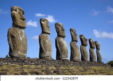 View of seven Ahu Akivi Moai, which are the only Moai to face the sea, Rapa Nui, Easter Island, Chile.