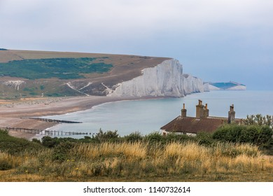 View of Seven sisters cottages at Southy Downs, UK