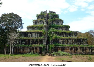View of the seven tiered pyramid at Koh Ker, Prasat Thom of Koh Ker temple site, note  select focus with shallow depth of field - Shutterstock ID 1656069610