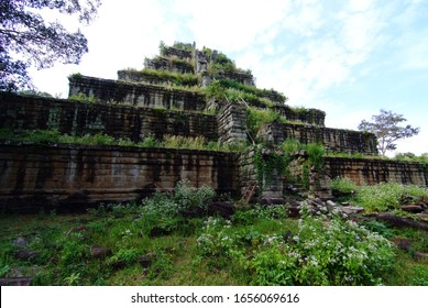 View of the seven tiered pyramid at Koh Ker, Prasat Thom of Koh Ker temple site, note  select focus with shallow depth of field - Shutterstock ID 1656069616