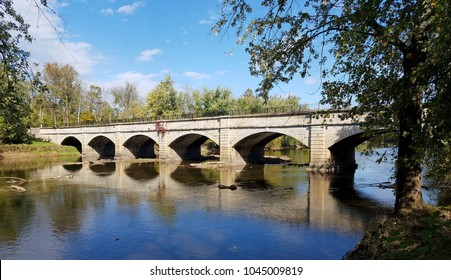 View of seven-arched aqueduct over Monacacy Creek, longest aqueduct on the Cumberland and Ohio Canal, Frederick County, Maryland, USA