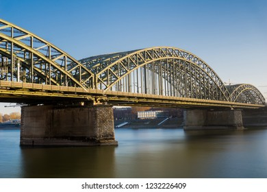 View of the Severins Bridge and the Long River Rhine at Day in Germany Cologne 2018.