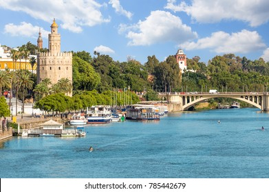 View of seville city and torre del oro at summer,Spain