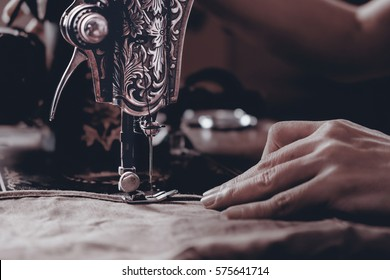 View of sewing machine. Vintage style.