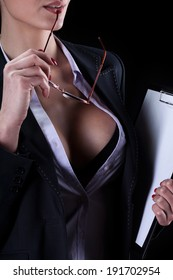 View of a sexy secretary with beautiful breast