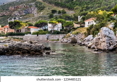 View of the Sferracavallo gulf and Capo Gallo mount, province of Palermo, Sicily.