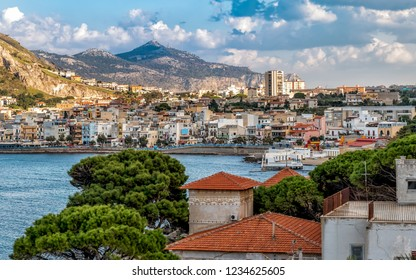View of the Sferracavallo village located at the foot of the Capo Gallo Mount on the shore of Mediterranean sea in province of Palermo, Sicily