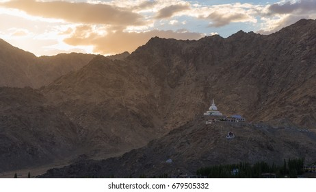 View of Shanti stupa with beautiful sky, the big stupa in Leh and one fron the best buddhist stupas - Jammu and Kashmir - Ladakh - India