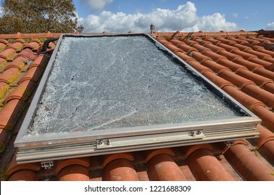 View of a shattered solar panel after hail