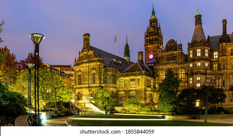 View of Sheffield City Council and Sheffield town hall in autumn, England, UK