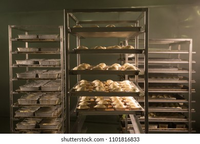 View of shelf of bread in oven prepare for baking, bakery factory concept.