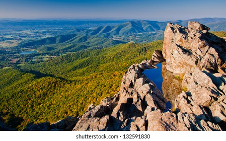 View of the Shenandoah Valley and Blue Ridge Mountains from Little Stony Man Cliffs, Shenandoah National Park, Virginia
