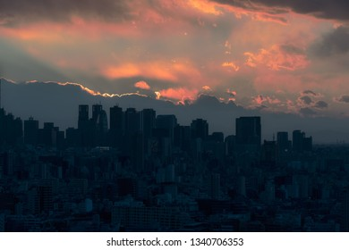 View of Shinjuku and amazing colorful cityscape after sunset in Tokyo.