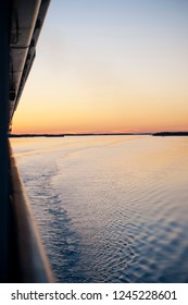View From a Ship Balcony at Sunrise or Sunset