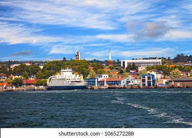 View from ship on port Moss in Norway.