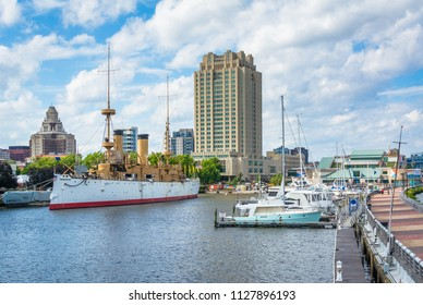 View of ships and buildings at Penns Landing, in Philadelphia, Pennsylvania.