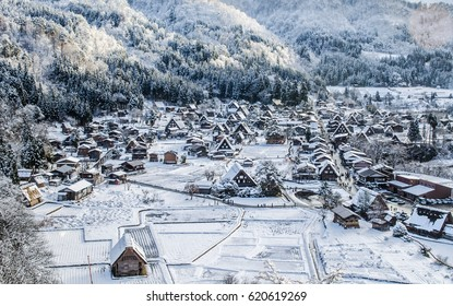 View of Shirakawago, Japan historic village, in winter