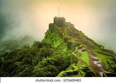 View of Shivaji's pratapgarh fort near mahabaleshwar, maharashtra, india.