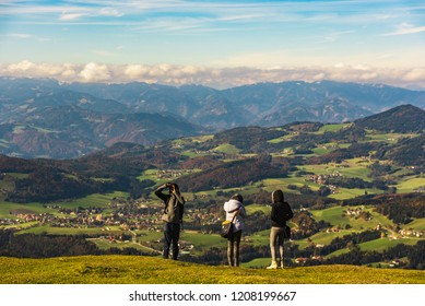 View from Shockl mountain in Graz. Tourist spot in Graz Styria. Places to see in Austria Tourists on the top of mountain