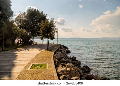 View from the shore of Bracciano lake (Italy)