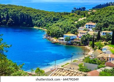 View of a shore in Corfu, Greece