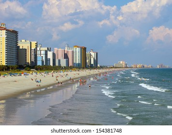 A view of the shore line from Myrtle Beach, South Carolina
